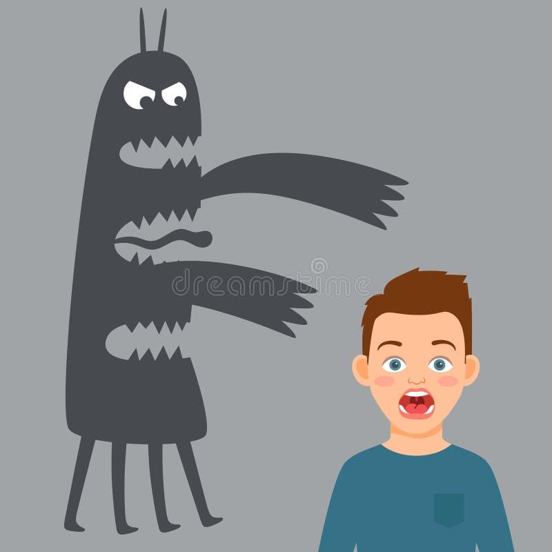 Ilustração assustado do vetor do menino e do monstro do medo ilustração do vetor
