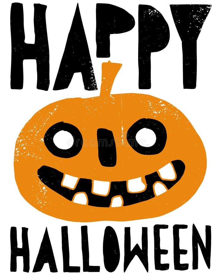 Ilustração assustador do Grunge do vetor da abóbora Abóbora alaranjada de sorriso do gigante com os dentes grandes do olho e os b ilustração stock