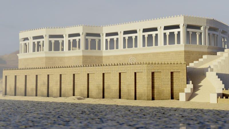 Ilustração assyrian antiga do palácio 3d ilustração do vetor