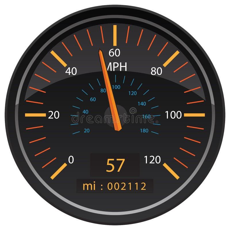 Ilustração automotivo do vetor do calibre do painel do odômetro do velocímetro dos quilômetros por hora do MPH ilustração royalty free
