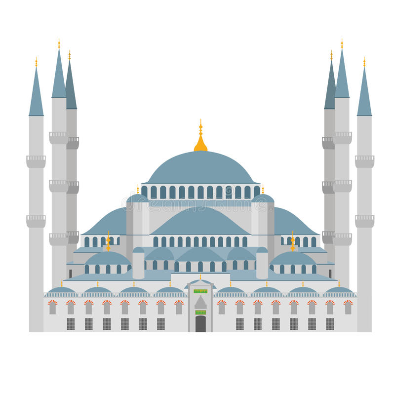 Ilustração azul da mesquita Istambul (Turquia) ilustração royalty free