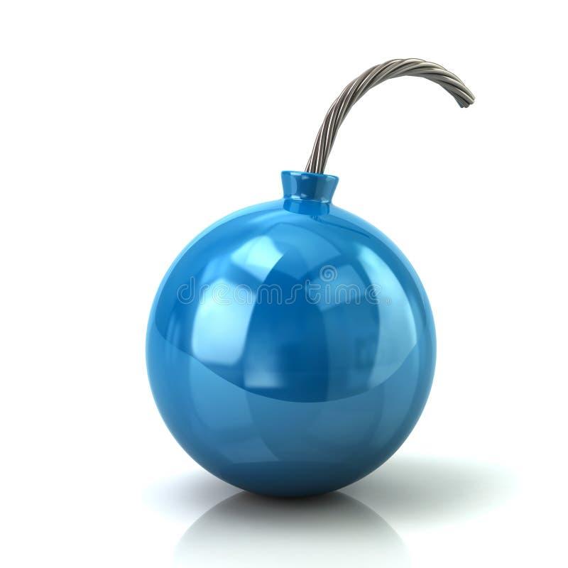 Ilustração azul do ícone 3d da bomba ilustração stock