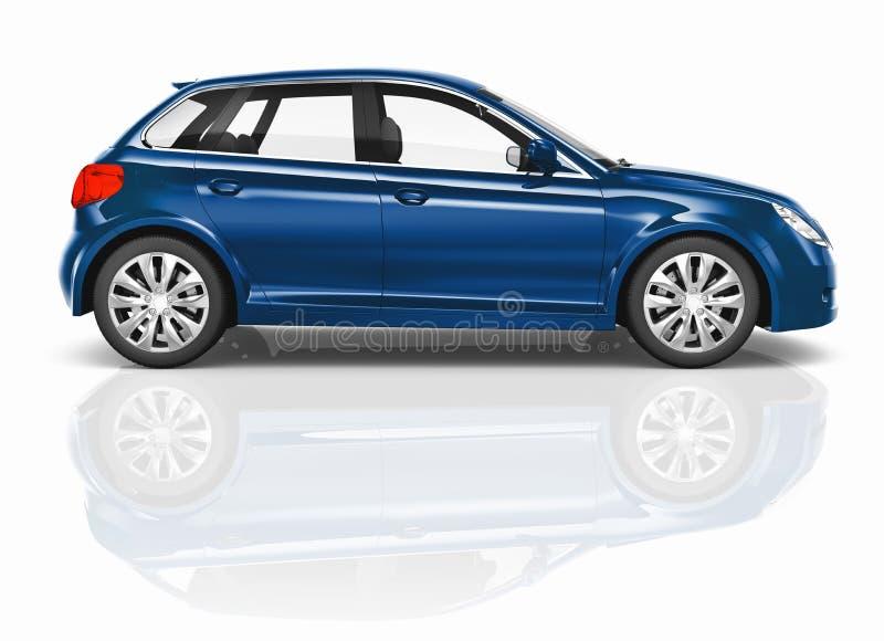 Ilustração azul do carro do carro com porta traseira 3D ilustração do vetor