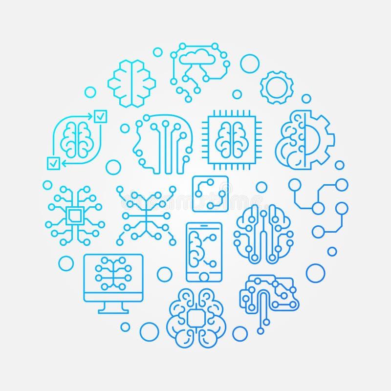 Ilustração azul do conceito do esboço do vetor redondo do cérebro de Digitas ilustração royalty free