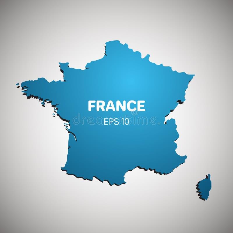Ilustração azul do vetor da cor do mapa de França ilustração royalty free