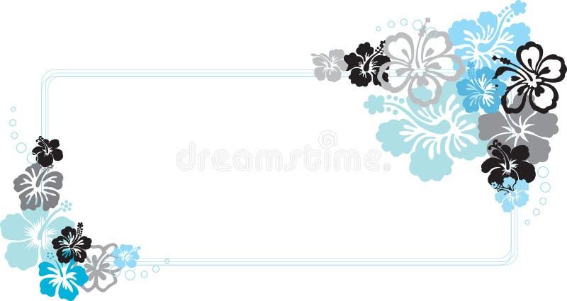 Ilustração azul do vetor do frame da flor do hibiscus ilustração do vetor