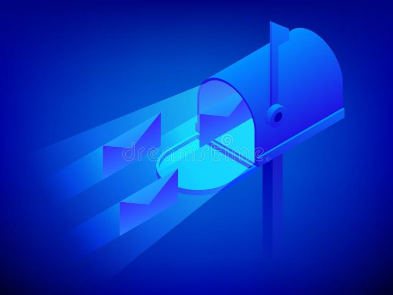 Ilustração azul moderna isométrica do vetor da caixa postal Abra a caixa postal com envelopes Ilustração do vetor ilustração do vetor