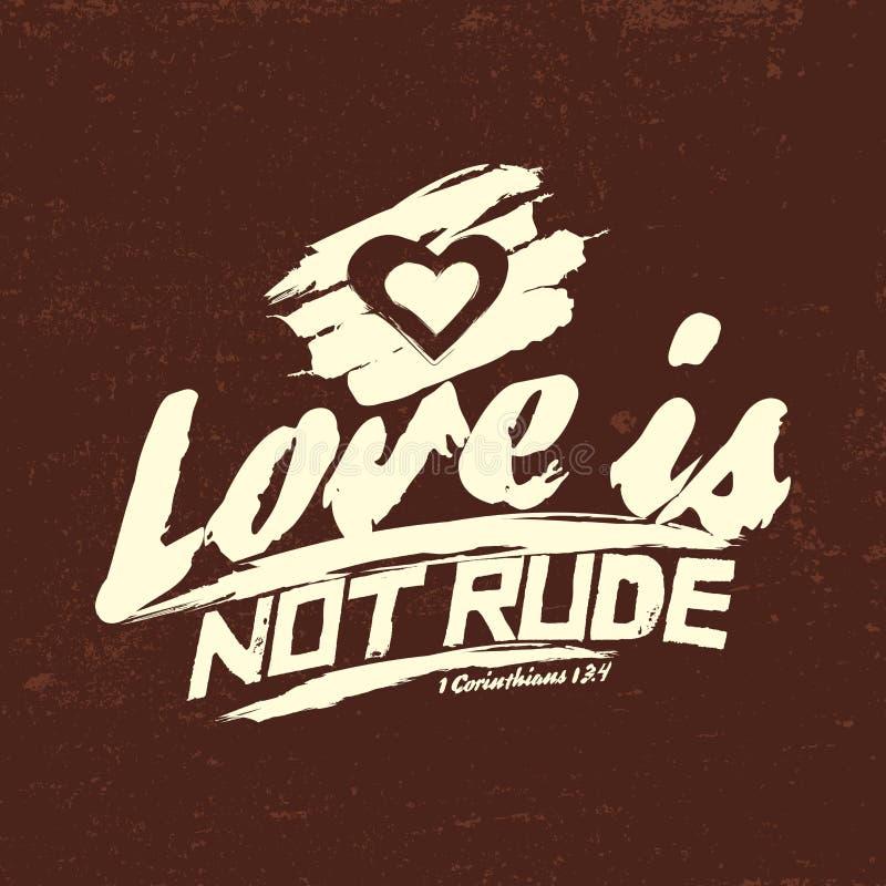 Ilustração bíblica Cristão tipográfico O amor não é rude, 1 13:4 dos Corinthians ilustração royalty free