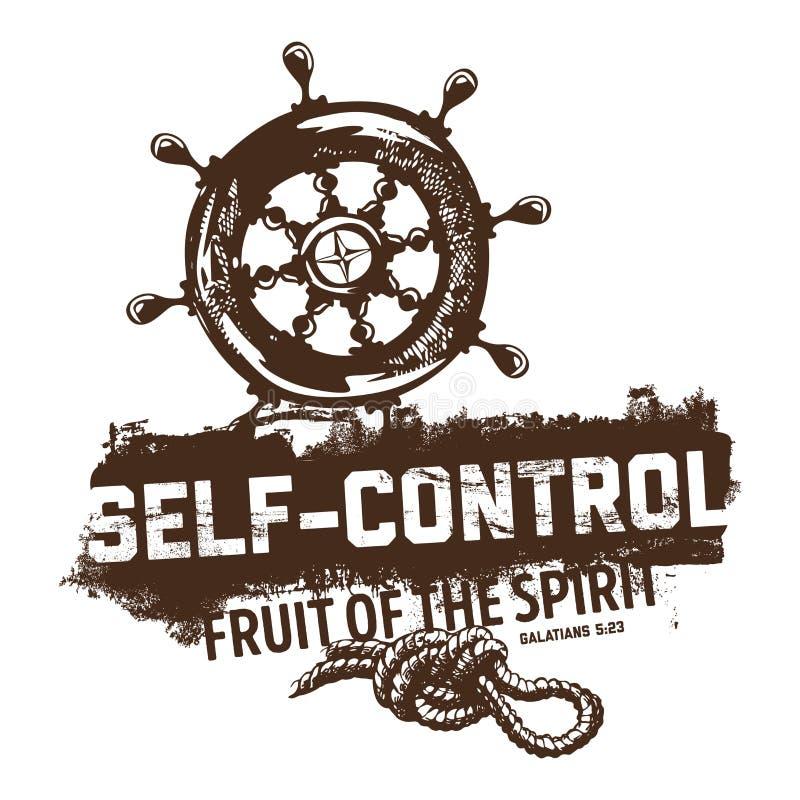 Ilustração bíblica Rotulação cristã Fruto do espírito - autocontrole 5:23 de Galatians ilustração do vetor