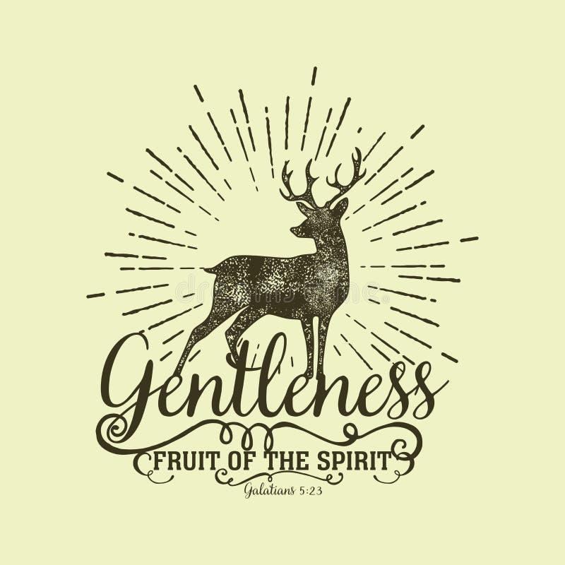 Ilustração bíblica Rotulação cristã Fruto do espírito - delicadeza 5:23 de Galatians ilustração royalty free