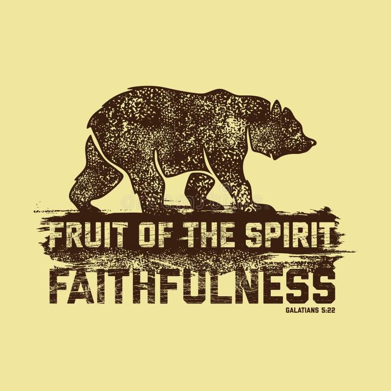 Ilustração bíblica Rotulação cristã Fruto do espírito - fidelidade 5:22 de Galatians ilustração royalty free