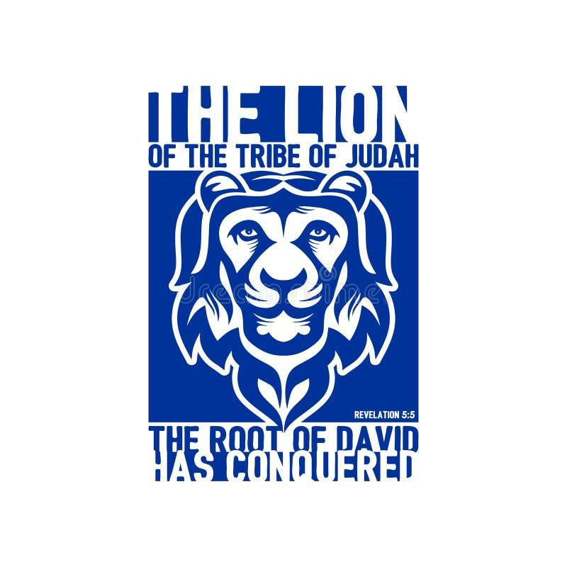 Ilustração bíblica Rotulação cristã O leão do tribo de Judah 5:5 da revelação ilustração stock