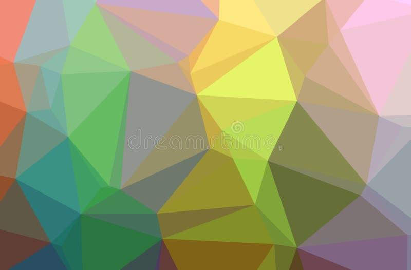 Ilustração baixo do fundo poli horizontal verde, alaranjado, amarelo abstrato Teste padrão bonito do projeto do polígono ilustração royalty free