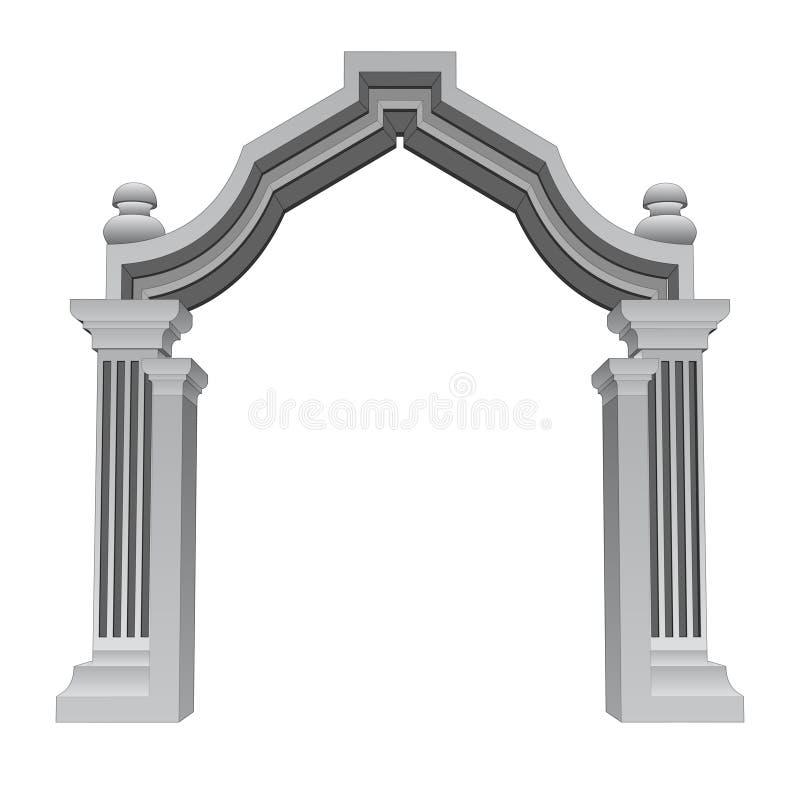 Vetor barroco de pedra de mármore do quadro da porta da entrada ilustração do vetor