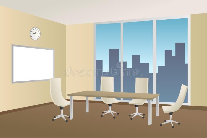 Ilustração bege da janela da cadeira de tabela da sala de reunião do escritório ilustração do vetor