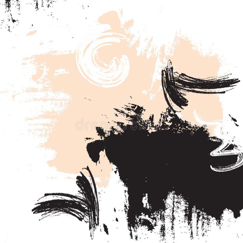 Ilustração bege do curso da escova da cor Elementos do sumário do grunge do vetor Elementos criativos da tinta Arte mínima dinâmi ilustração do vetor