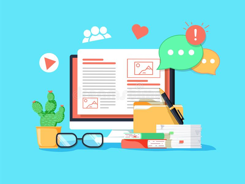 Ilustração Blogging do conceito Ideia do blogue da escrita e índice da fatura para meios sociais ilustração royalty free