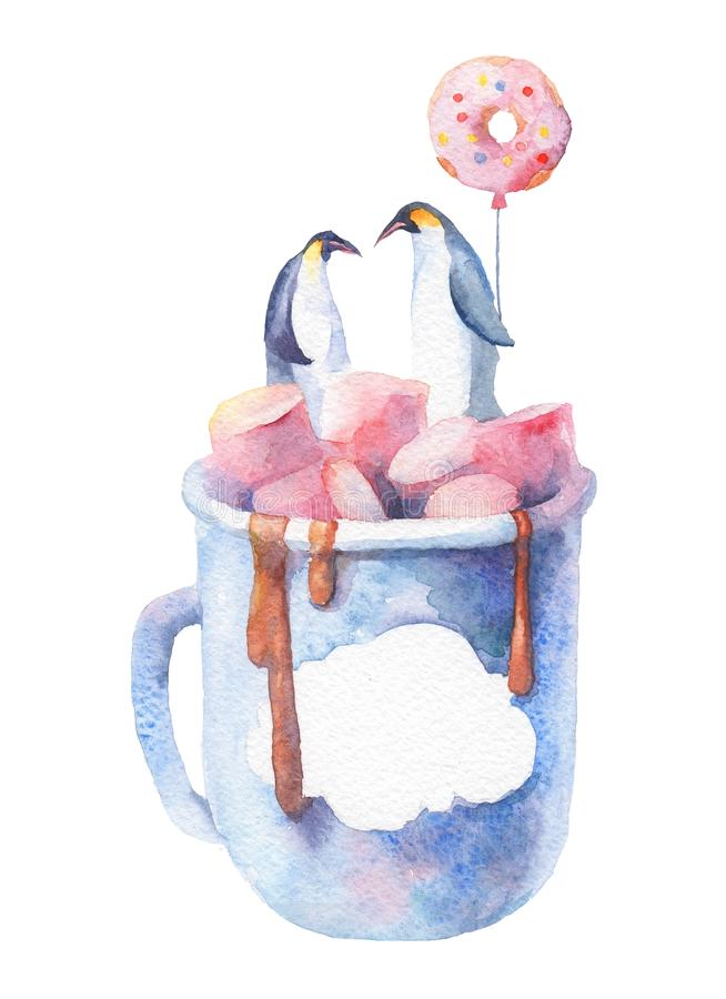 Ilustração bonita da aquarela com dois pinguins em uma xícara de café com marshmallow foto de stock