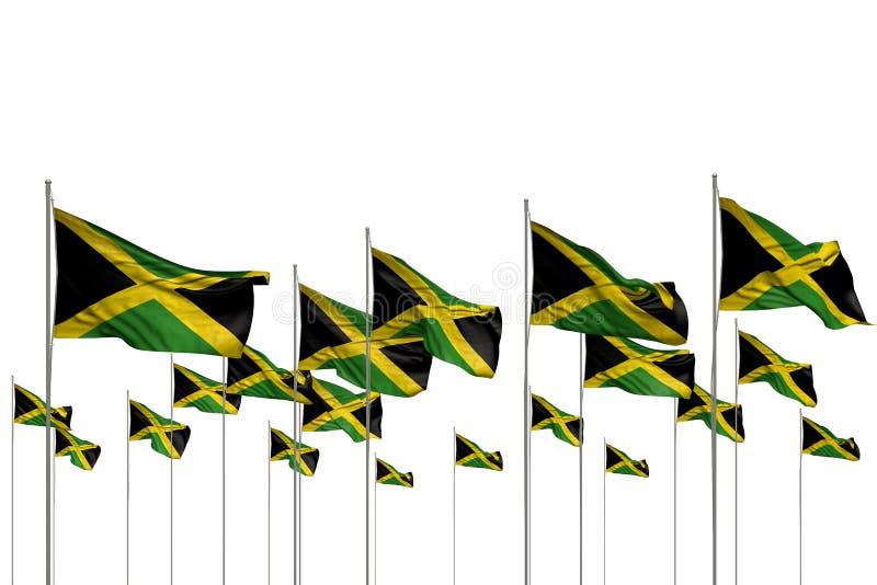 Ilustra??o bonita da bandeira 3d do dia do hino - muitas bandeiras de Jamaica em seguido isoladas no branco com lugar vazio para  ilustração stock