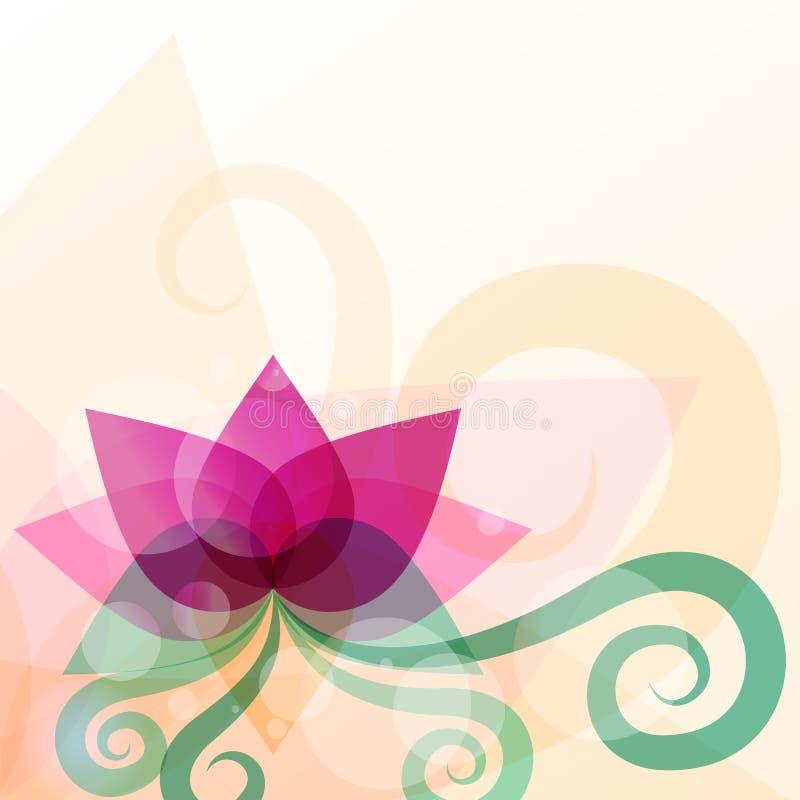 Ilustração bonita da flor de lótus Fundo abstrato do vetor ilustração stock