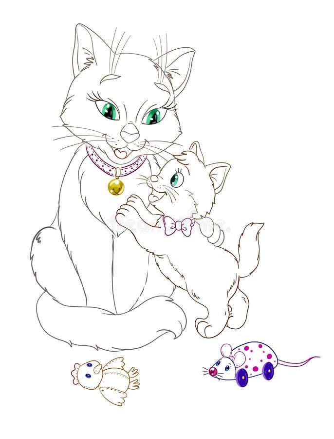 Ilustração bonita de um gato com gatinho em um fundo branco ilustração royalty free