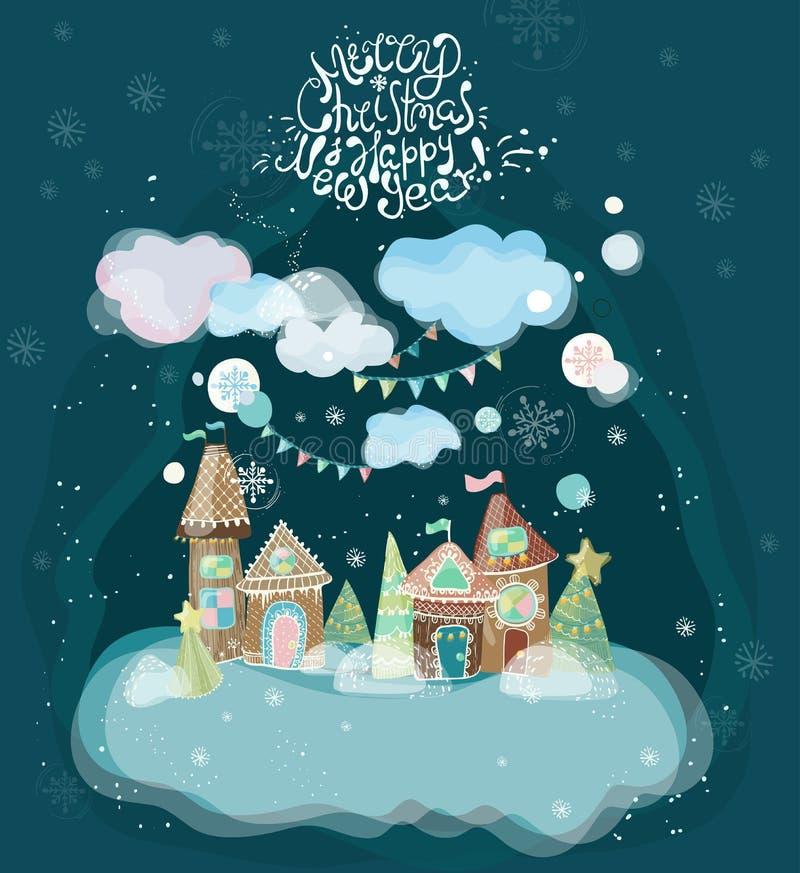 Ilustração bonita do feriado com casas de pão-de-espécie ilustração do vetor