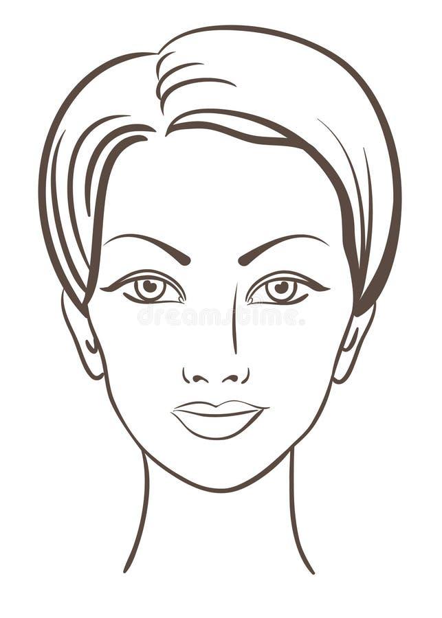 Ilustração bonita do vetor da face da mulher ilustração do vetor