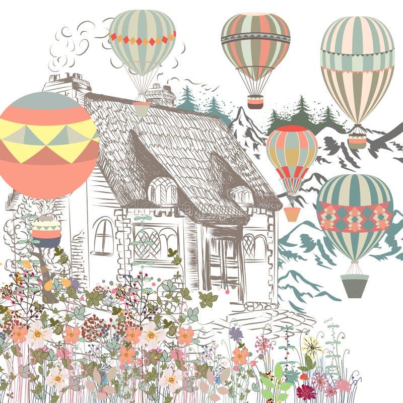 Ilustração bonito com o balloo europeu velho da casa, do jardim e do ar ilustração royalty free