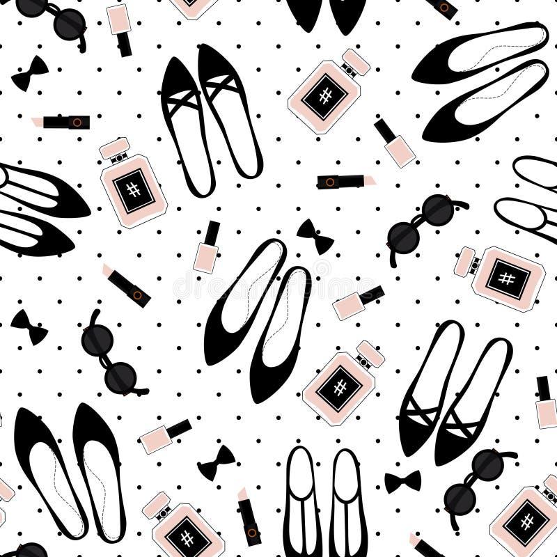 Ilustração bonito com sapatas pretas, batom cor-de-rosa da forma, verniz para as unhas, perfume, óculos de sol no fundo dos às bo ilustração royalty free