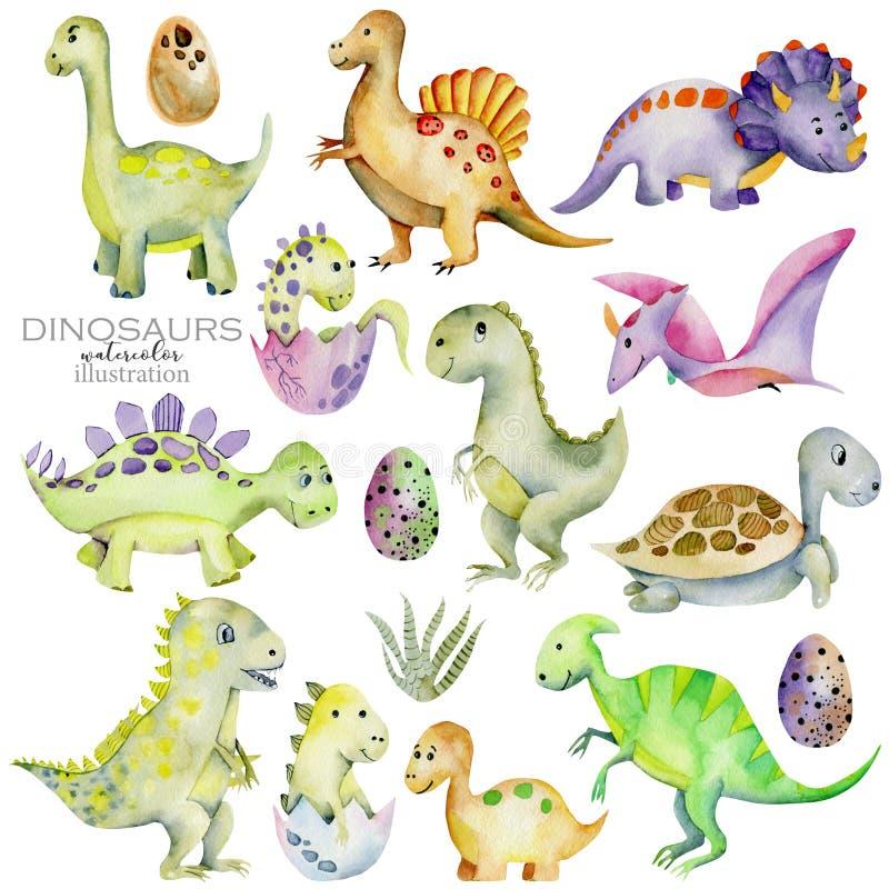 Ilustração bonito da aquarela da coleção dos dinossauros ilustração stock