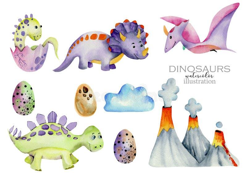 Ilustração bonito da aquarela da coleção dos dinossauros ilustração do vetor