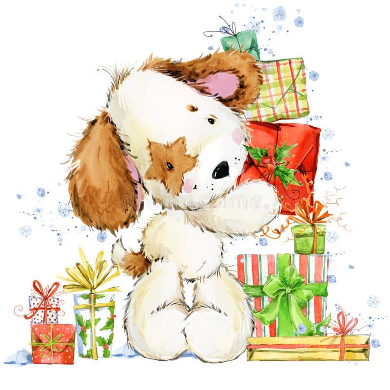Ilustração bonito da aquarela do cachorrinho dos desenhos animados Cartão do ano do cão ilustração do vetor