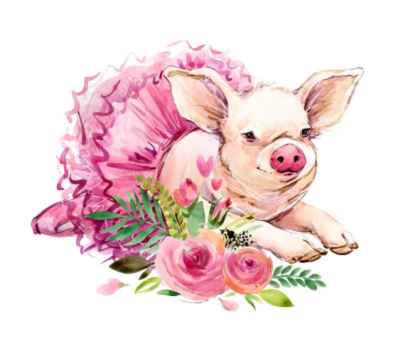 Ilustração bonito da aquarela do porco ilustração royalty free