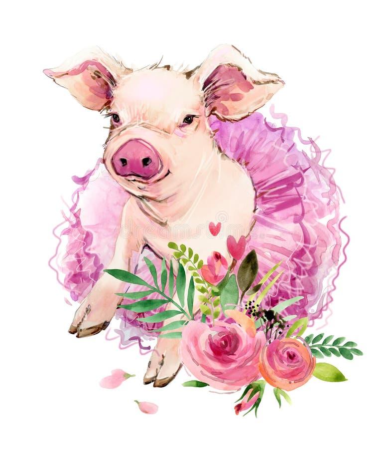 Ilustração bonito da aquarela do porco ilustração do vetor