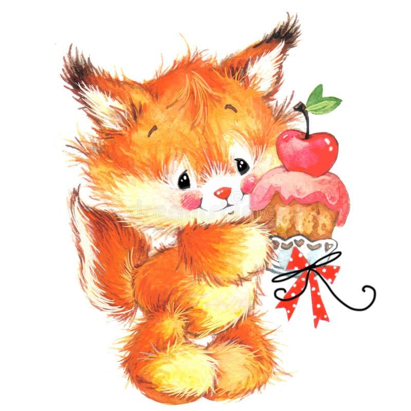Ilustração bonito da aquarela dos animais de estimação do esquilo engraçado ilustração stock
