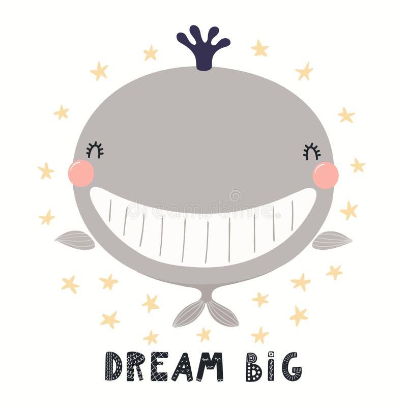Ilustração bonito da baleia ilustração royalty free