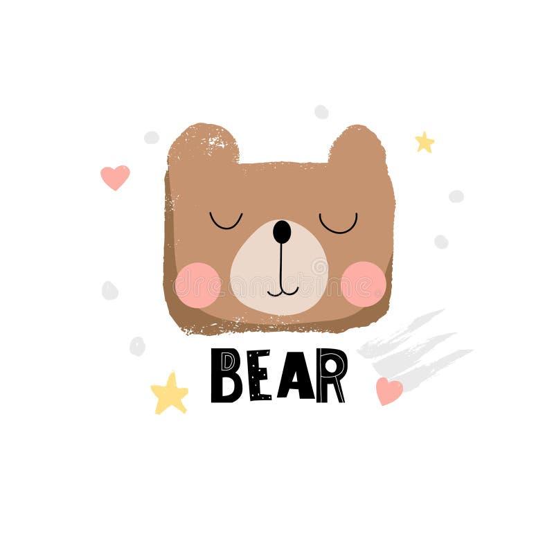 Ilustração bonito da cara do urso ilustração do vetor