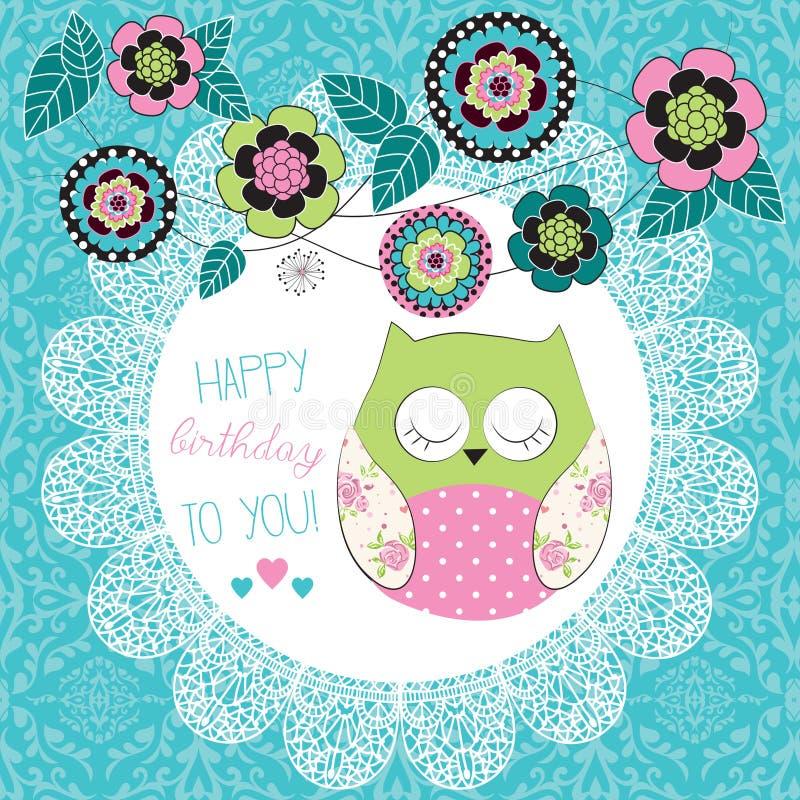 Ilustração bonito da coruja do feliz aniversario ilustração royalty free