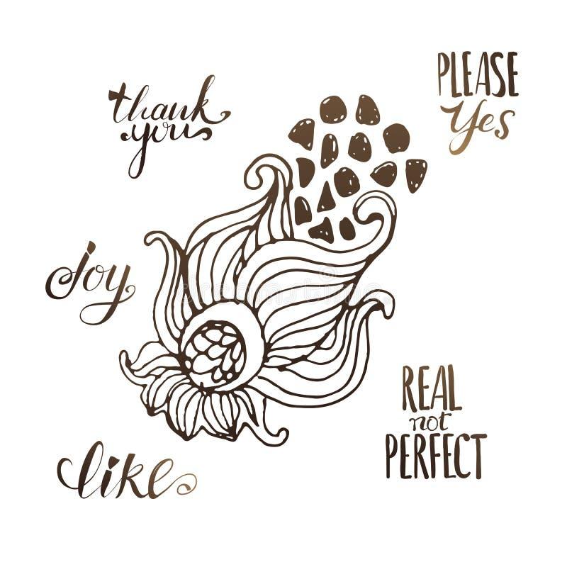 Ilustração bonito da flor do doddle com mensagem de texto ilustração do vetor