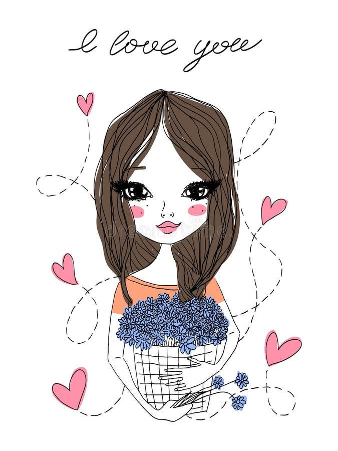 Ilustração bonito da forma do vetor com uma menina moreno bonita que guarda uma cesta completamente de flores azuis, 'eu te amo ' ilustração stock