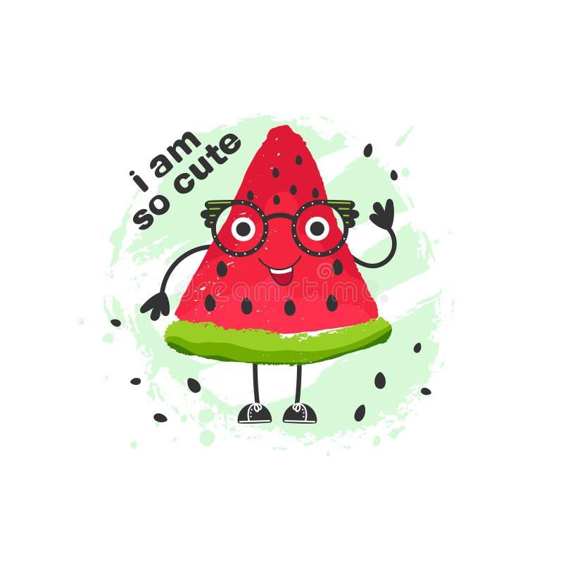 Ilustração bonito da melancia dos desenhos animados ilustração stock