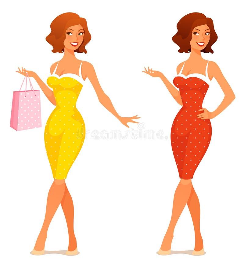 Ilustração bonito de uma jovem mulher no vestido retro ilustração do vetor