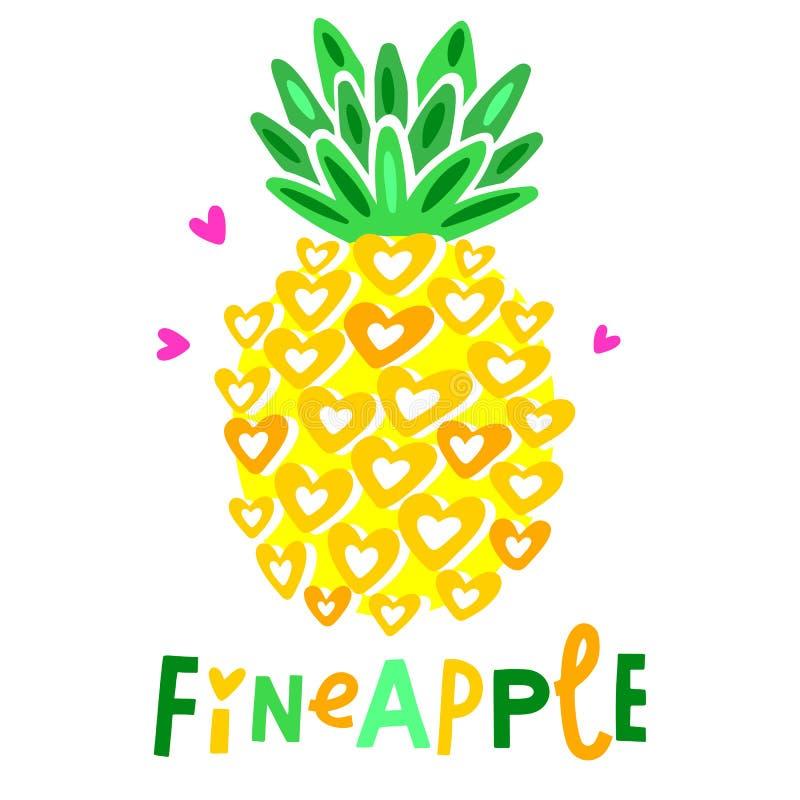 Ilustração bonito do abacaxi do vetor Alimento gráfico engraçado dos desenhos animados Citações da tipografia ilustração stock
