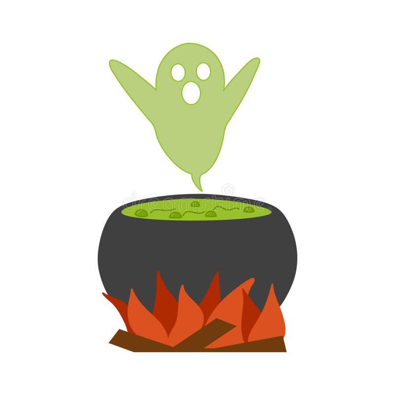 Ilustração bonito do caldeirão e do fantasma da bruxa fotografia de stock royalty free