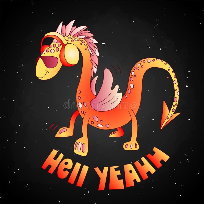 Ilustração bonito do dragão dos desenhos animados vermelhos Dragão dos desenhos animados nos óculos de sol e nos fones de ouvido, ilustração do vetor