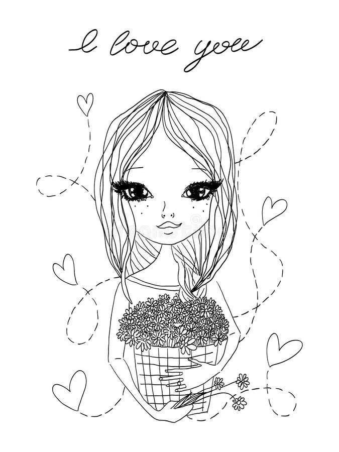 Ilustração bonito do esboço da forma do vetor preto e branco com uma menina bonita que guarda uma cesta completamente das flores, ilustração royalty free