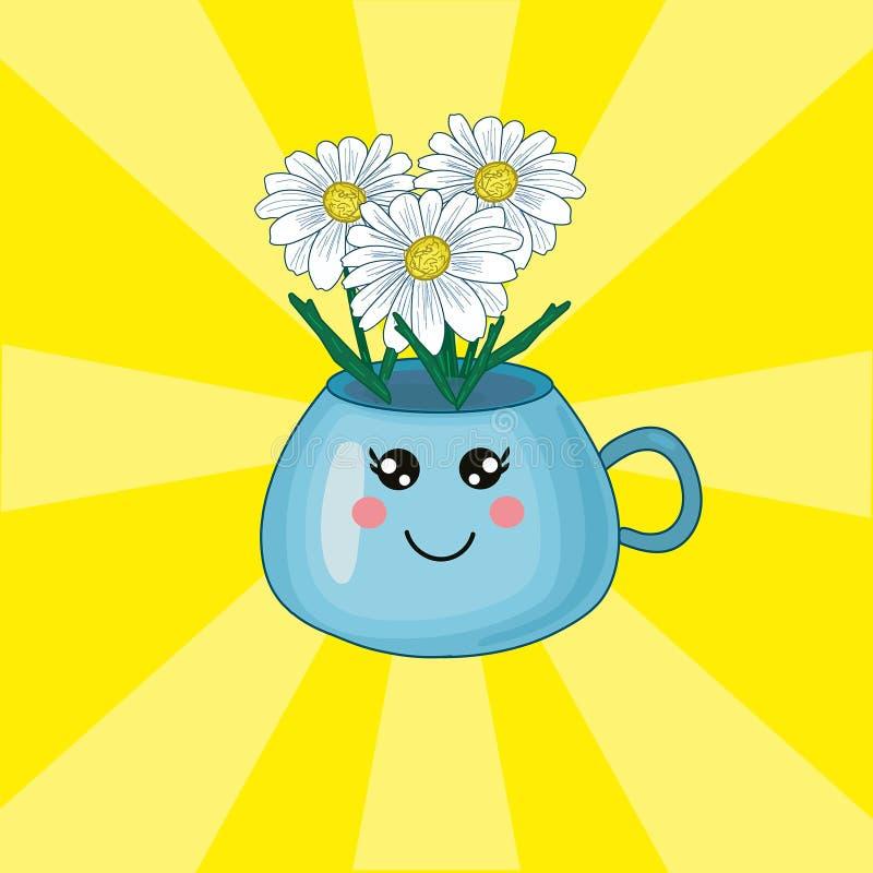 Ilustração bonito do kawaii do vetor com copo azul, flores das FO do vaso no fundo amarelo ilustração do vetor