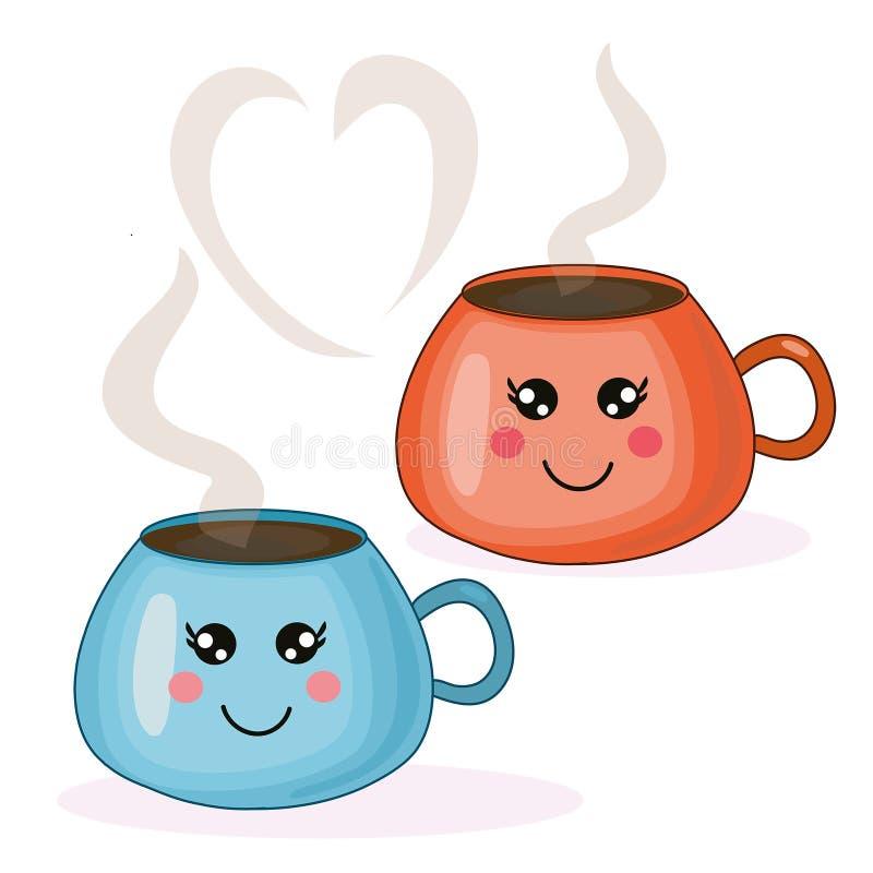 Ilustração bonito do kawaii do vetor com os copos de café azuis e alaranjados ilustração do vetor