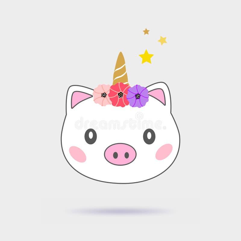 Ilustração bonito do unicórnio mágico do porco Isolado no fundo cinzento ilustração stock