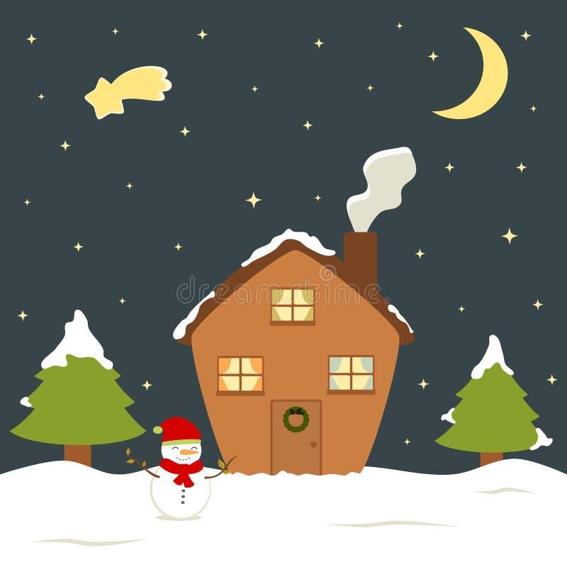 Ilustração bonito do vale-oferta da neve, do boneco de neve e do pinheiro do inverno da casa de férias da Noite de Natal dos dese ilustração royalty free